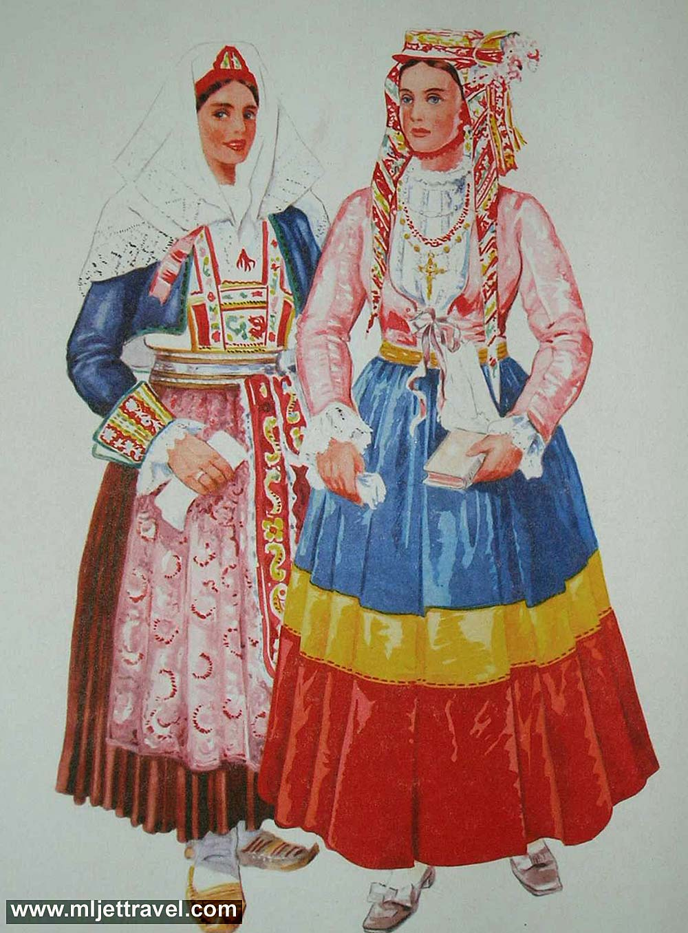 Traditional Mljets Folk Costume on Left And Right