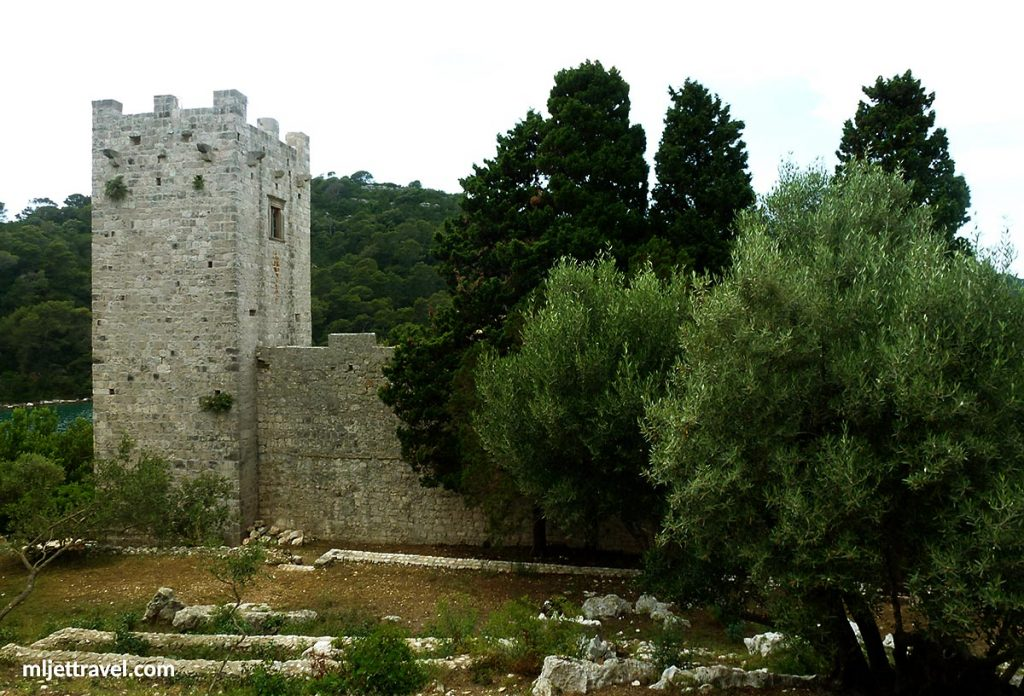 Tower and walls viewed from inside the Monastery grounds