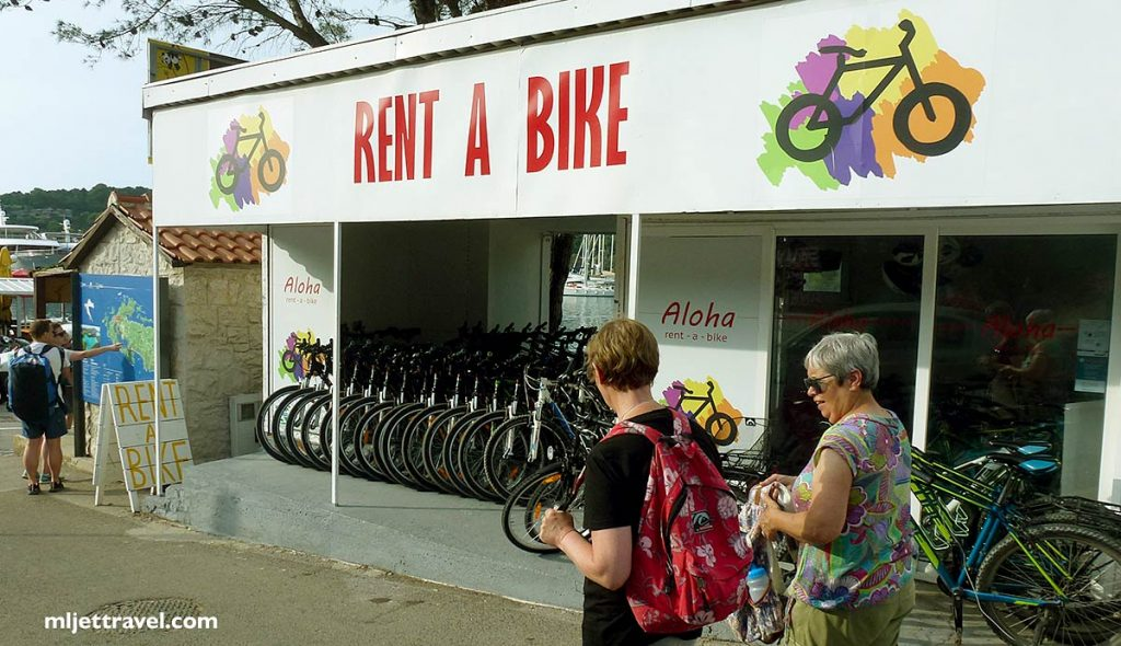 Aloha bike rental shop in Pomena on Mljet