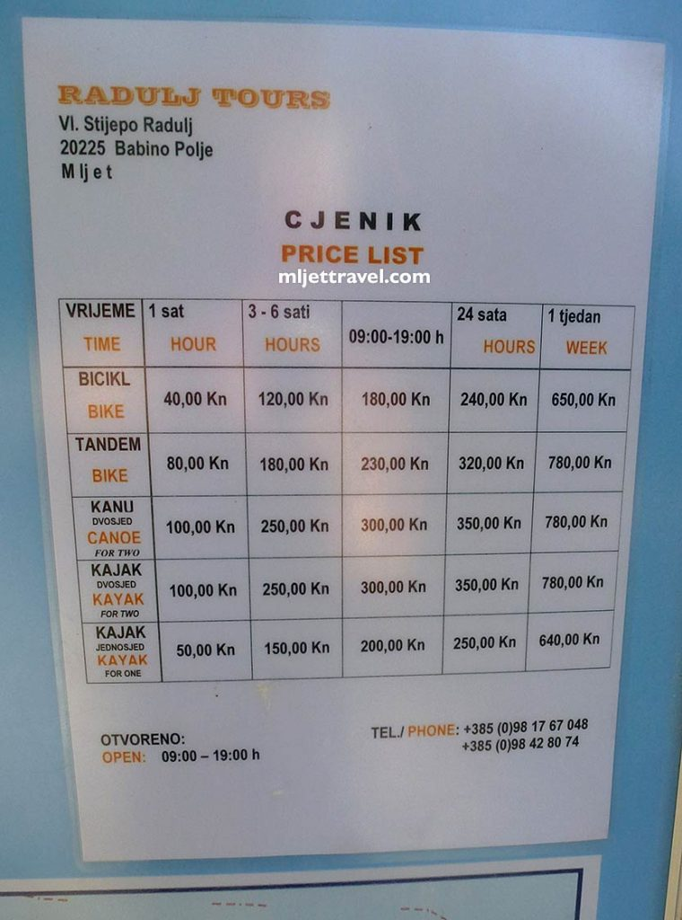 Price list for canoe, kayak and bike rental in the National Park