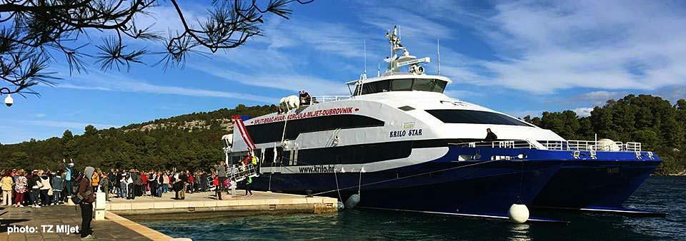 fast ferry boat arriving in Mljet