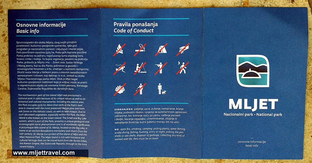 Code of Conduct - Mljet National Park, 2016
