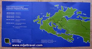 Handy map on ticket cover - Mljet National Park, 2016