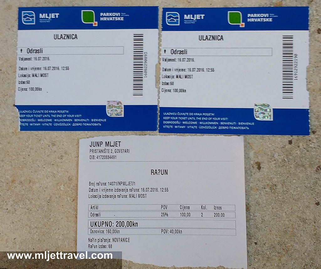 Two Tickets and Receipt of 200 Kuna - Mljet National Park, 2016