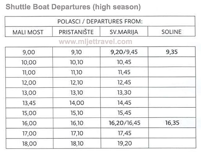 High Season Shuttle Boat Departures - Sveta Marija - St Mary's Islet: