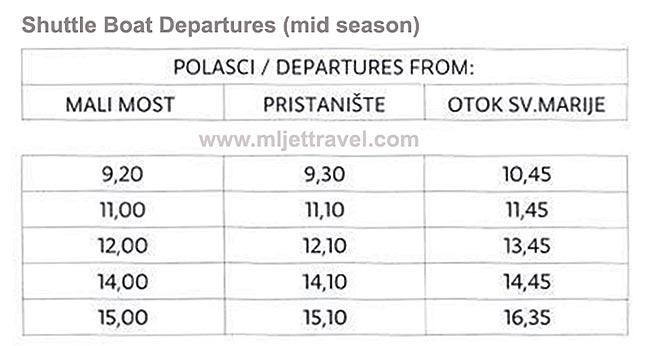 Mid Season Shuttle Boat Departures - Sveta Marija - St Mary's Islet: