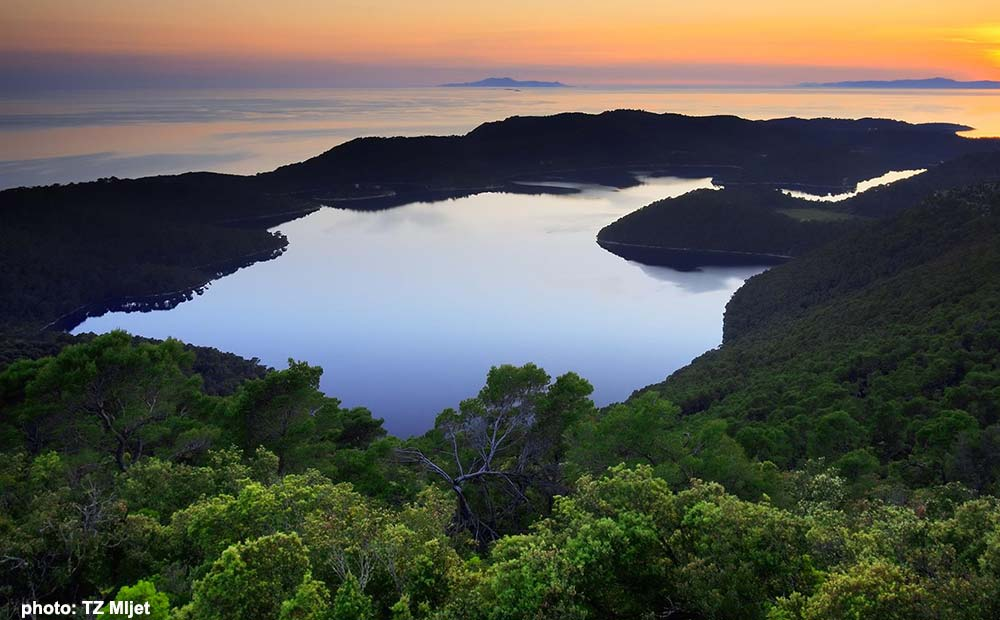 Sunset over Large and Small Lake on Mljet